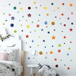 3D Learning LLF Stars and Circles Wall Decals Wall Decor 147 Watercolor Pieces- Waterproof Remov ...