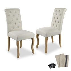 Dinner Chairs Upholstered Accent Fabric Dining Chair Solid Wood Legs Kitchen Living Room Set of  ...