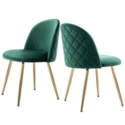 Modern Velvet Dining Chairs, Tufted Accent Upholstered Chairs with Gold Plating Metal Legs for L ...