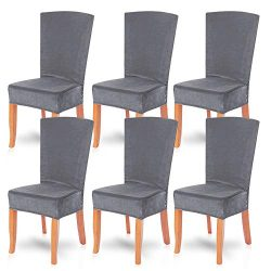 SearchI Velvet Dining Room Chair Covers Set of 6, Fit Stretch Soft Plush Removable Washable Shor ...
