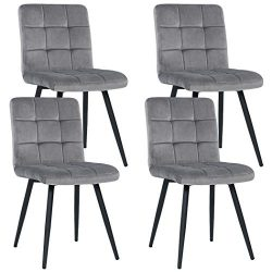 Duhome Set of 4 Kitchen Dining Chairs,Mid Century Chairs Accent Chairs Grey Velvet Cushion Side  ...