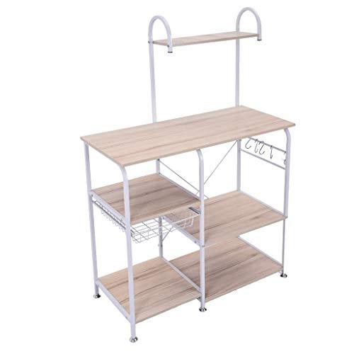 Alelife Kitchen Baker's Rack Utility Storage Shelf 35.5″ Microwave Stand 4-Tier+3-Ti ...