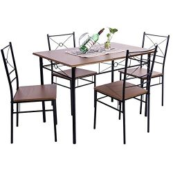 Dinning Table Set for 4,JULYFOX 5 Piece Kitchen Table and Chairs Set Wood and Metal Modern Minim ...
