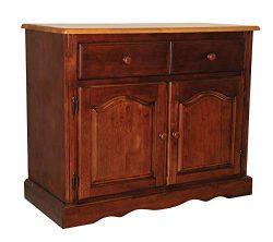 Sunset Trading DLU-19-BUF-NLO Oak Selections Buffet, Medium Walnut Cabinet with a Light Finish top