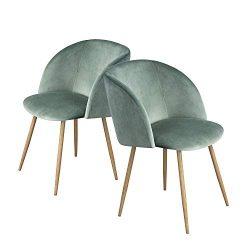 HomyCasa Dining Chair Set of 2 Living Room Side Chair Guest Chair Velvet Fabric Ergonomic Padded ...