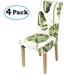 misaya Stretch Dining Room Chair Cover Spandex Removable Washable Tropical Monstera Printing Cha ...