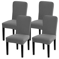 Leanking Knit Spandex Fabric Stretch Removable Washable Dining Room Chair Slipcover Home Decor S ...