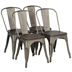 Yaheetech Metal Dining Chair with Wood Seat/Top Stackable Side Chairs with Back Indoor-Outdoor C ...