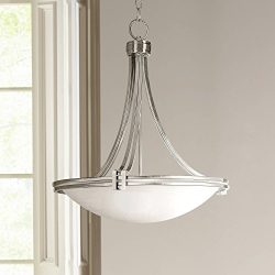 Deco Brushed Nickel Pendant Light 21 1/2″ Wide Marbleized Glass Fixture for Kitchen Dining ...