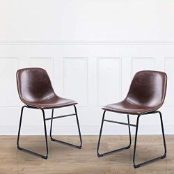 Rfiver Vintage Dining Chairs with Antique Brown PU Leather Seat and Black Sturdy Metal Base for  ...