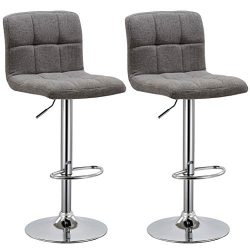 Duhome 2 PCS Fabric Modern Bar Stools Hydraulic Adjustable Swivel Kitchen Counter Height Chair ( ...