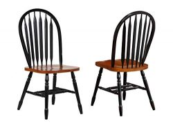 Sunset Trading Arrowback Dining Chair, Set of 2, 38″, Antique Black/Cherry