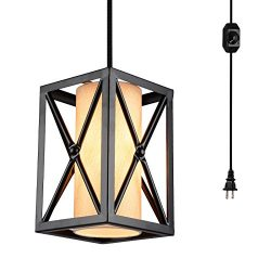HMVPL Plug-in Industrial Pendant Light with 16.4 Ft Hanging Cord and On/Off Dimmer Switch, Metal ...