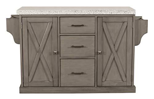 Hillsdale Furniture 4786-862G Brigham Kitchen Island with Granite Top, Gray