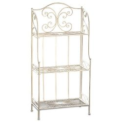 WHW Whole House Worlds French Country Style Bakers Rack, Rustic White, Distressed Vintage Reclai ...