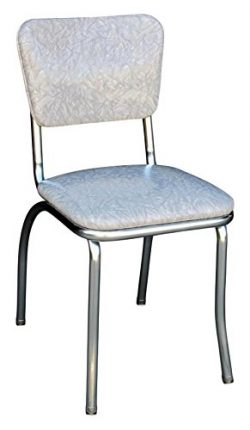 Richardson Seating 4110CIG Retro Chrome Kitchen Chair with 1″ Pulled Seat, Null, Cracked I ...