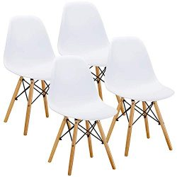 Set of 4 Dining Chair Pre Assembled Modern Style Chair, Shell Lounge Plastic Chair for Kitchen,  ...