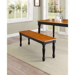 Better Homes & Gardens Autumn Lane Farmhouse Solid Wood Dining Bench + Cleaning Towelette