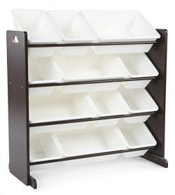 Tot Tutors Kids' Toy Storage Organizer with 12 Plastic Bins, Espresso/White (Espresso Coll ...