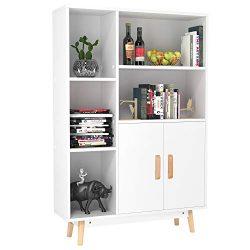 Homfa Floor Storage Cabinet, Free Standing Wooden Display Bookcase with Double Doors, 2 Shelves, ...