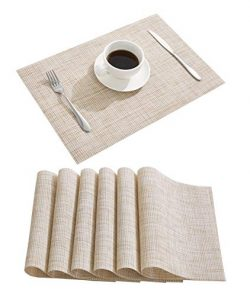 Nacial Place Mats Waterproof Placemats Washable&Wipeable Table Mats Set of 6 for Dining Tabl ...