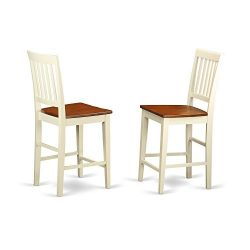 East West Furniture VNS-WHI-W Counter Height Stool Set with Wood Seat, Buttermilk/Cherry Finish, ...