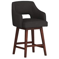 Rivet Malida Mid-Century Open Back Swivel Counter Stool, 37″H, Charcoal