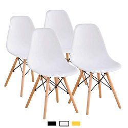 YEEFY Dining Chairs Modern Style Dining Chair Plastic Chair, Set of 4(White)