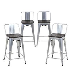 Buschman Set of 4 Grey Wooden Seat 24 Inches Counter Height Metal Bar Stools Medium Back, Indoor ...