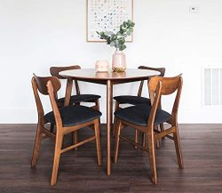 Edloe Finch Dakota Mid-Century Modern 5 Piece Round Dining Table Set for 4, Walnut Top