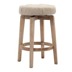 Chairus 26″ Swivel Counter Height Stool, Upholstered Round Bar Stool with Tufted Button &a ...