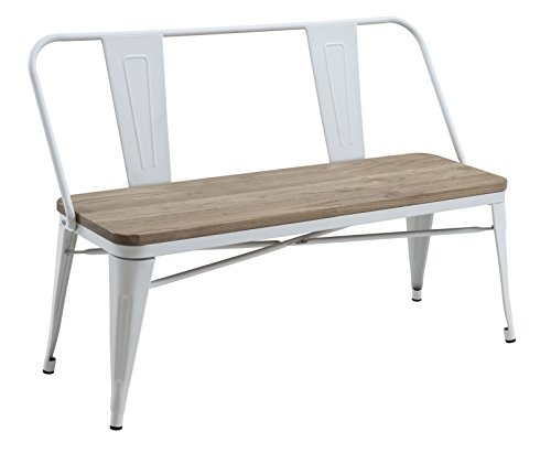 HOMES: Inside + Out IDF-3529WH-BN White Trevin Industrial Bench,