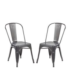 Modern Vintage Metal Stackable Dining Chair Backs Set of 2 Tolix Kitchen Chair Matt Silver