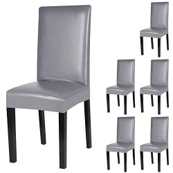 YISUN Dining Chair Covers, Solid Artificial Leather Waterproof and Oilproof Stretch Dining Chair ...