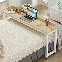 """Overbed Table with Wheels, Tribesigns 70.8"""" Queen Size Mobile Desk with Heavy-Duty Metal L ..."""