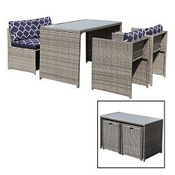 OC Orange-Casual 5 Piece Wicker Dining Set Table &Chair Patio Furniture Set Cushioned Garden ...