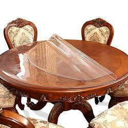 53 Inch Round Clear Dining Table Protector Tablecloth Cover Desk Top Pad Mat for Glass Furniture ...