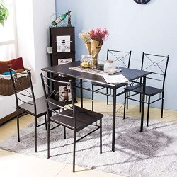 5-Piece Dining Table Set Home Kitchen Table with 4 Chairs Wood and Metal Dining Room Breakfast F ...