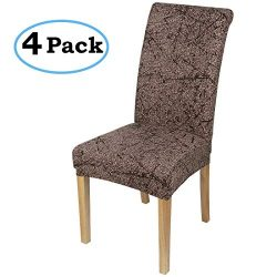 misaya Stretch Dining Room Chair Cover Spandex Removable Washable Floral Printing Chair Slipcove ...