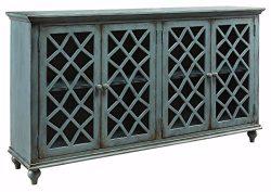 Ashley Furniture Signature Design – Mirimyn 4-Door Accent Cabinet – Antique Teal Fin ...