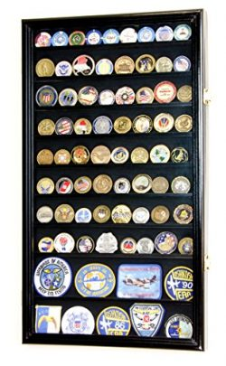Large Military Challenge Coin Display Case Cabinet Holders Rack w/ UV Protection, Black