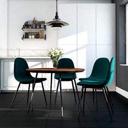 DHP DZ96015 Casi Upholstered, Green Velvet, Set of 4 Dining Chair