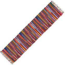 HF by LT Mardi Gras Handwoven Natural Fiber Cotton Table Runner, 13″ x 78″, Multi-Co ...