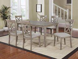 GTU Furniture Beautiful 7PC Wood Rectangular Dining Table Set, Grey Hardwood Table Top &Chairs