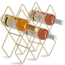 VonShef 10 Bottle Wine Rack Freestanding Bottle Holder Countertop Storage Metal Brushed Gold Geo ...