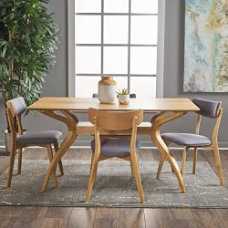 Nerron Mid Century Natural Oak Finished 5 Piece Wood Dining Set with Dark Grey Fabric Chairs