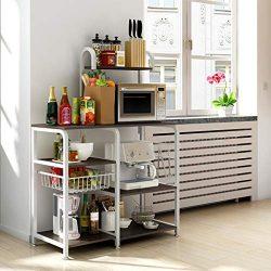 Sodoop 35.5″ Microwave Rack Storage Shelf 4-Tier+3-Tier, Oven Floor Shelf Storage Cupboard ...