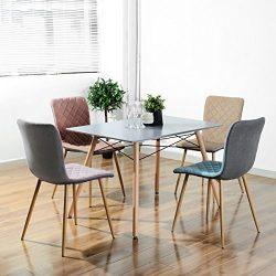 HOMY CASA Farmhouse Rectangle Dining Table, Mid-Century Kitchen Table with Metal Tube for Home,  ...