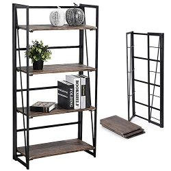 Coavas Folding Bookshelf Storage Shelves 4 Tiers Bookcase Home Office Storage Cabinet No-Assembl ...