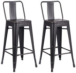 AC Pacific Modern Light Weight Industrial Metal Bucket Back Barstool, 30″ Seat Height Coun ...